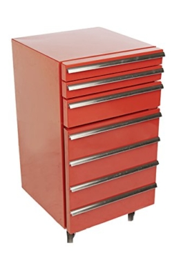 Mini-Kühlschrank für Getränke im retro Werkstattwagen-Look | rot, fahrbar, innovativ, stromsparend | exklusiver Bierkühlschrank auf Rollen ohne Gefrierfach | Gastro Cool | 3-Schubladen -