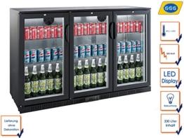 Profi Getränkekühlschrank, 330 Liter, 0° C/ +10° C, Umluftkühlung, abschließbar, GGG LG-330H -