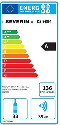 Severin KS 9894 Weinkühlschrank / A / 136 kWh/Jahr / 84 cm / 33 Flaschen / LED-Innenraumbeleuchtung / schwarz -