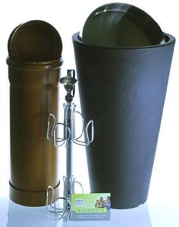 BIERSAFE für jeden Balkon: Bier-Versteck in Form von Beistell-Tisch oder XL-Pflanz-Kübel / Geheim-Depot für Terasse in Edelstahl + Stein-Optik, perfektes Männer-Geschenk / -Gimmick! -