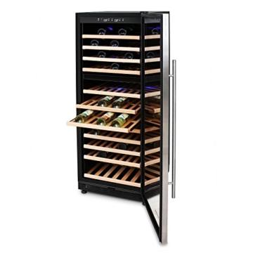 Klarstein Reserva 120 Luxus Weinkühlschrank Getränkekühlschrank (320L für 120 Flaschen, 11 Holz-Einschübe, 2 Zonen) schwarz - silber -
