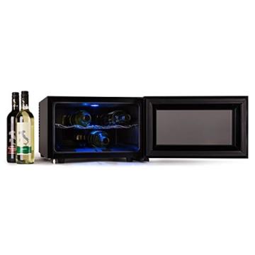 Klarstein Reserva Piccola Weinkühlschrank Getränkekühlschrank (25 Liter, 8 Flaschen, LED-Display, doppelt isolierte, verspiegelte Glastür) schwarz -