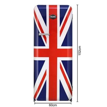 Vintage Industries ~ Retro-Kühlschrank Havanna 2017 mit Union Jack | 50er Jahre Look | Größe 152,5 cm | Kühl-Gefrier-Kombination 305l | Getränke-Kühlschrank mit Gefrierfach / Gefrierschrank 25l - 4