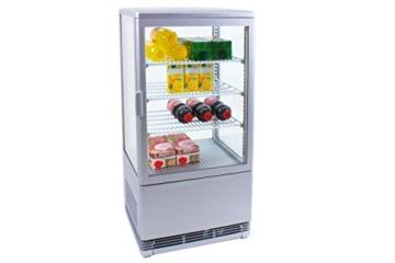 Zorro - Kühlvitrine silber Kuchenvitrine Gastro - 70 Liter - R600A - 4-Seitig Doppelverglast - 2