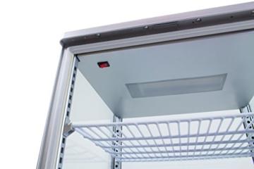 Zorro - Kühlvitrine silber Kuchenvitrine Gastro - 70 Liter - R600A - 4-Seitig Doppelverglast - 3