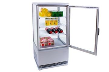 Zorro - Kühlvitrine silber Kuchenvitrine Gastro - 70 Liter - R600A - 4-Seitig Doppelverglast - 1