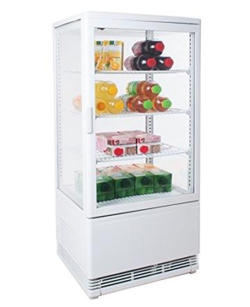 Zorro - Kühlvitrine weiß Kuchenvitrine Gastro - 80 Liter - R600A - 4-Seitig Doppelverglast - 3