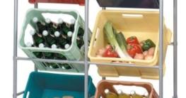 Flaschenkastenregal für 6 Kästen, mit Wandbefestigung, Stahlrohrgestell - 1